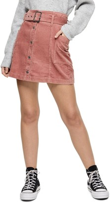 Topshop Belted Corduroy Mini Skirt