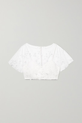 Rime Arodaky Arwen Cropped Embroidered Tulle And Crepe Top - White
