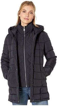 Calvin Klein Traditional Down with Bib Insert Knit Detail at Sleeve and Side Panels (Navy) Women's Coat
