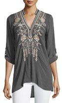 Johnny Was Lydia Split-Neck Embroidered Blouse, Iron Steel