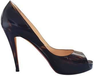 Christian Louboutin Lady Peep Brown Patent leather Heels