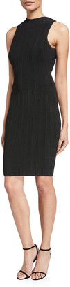 Milly Sleeveless Vertical Textured Fitted Dress