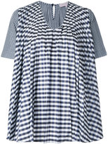 Dice Kayek gingham pleated blouse