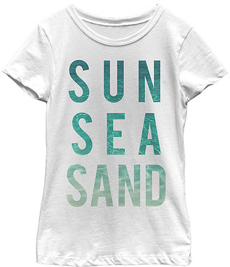 Fifth Sun Girls' Tee Shirts WHITE - White 'Sun Sea Sand' Tee - Toddler & Girls