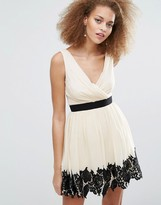 Little Mistress Skater Dress With Lace Border