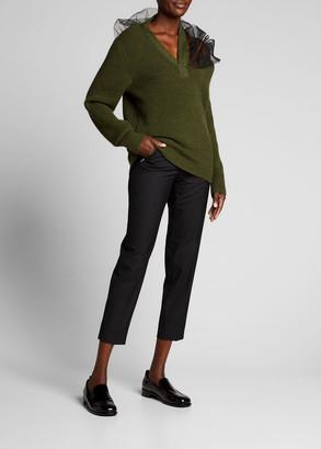 Maison Margiela Asymmetric Slit-Shoulder Wool Sweater