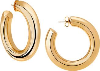 Janis Savitt Oprah's Favorite High Polish Large Hoop Yellow Gold Plated Earrings