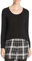 Red Haute Plaid Hem Layered-Look Sweater