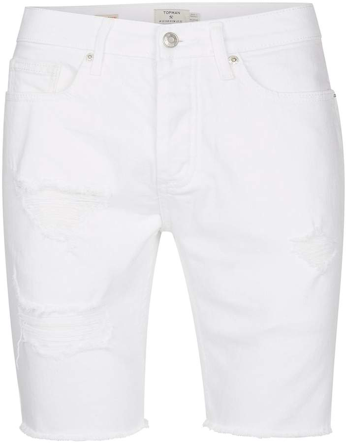 Topman White Rip Raw Denim Shorts