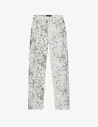 The Kooples Paint print high-rise slim-fit jeans