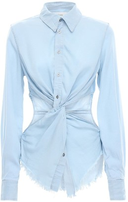 Marques Almeida Cutout Denim Shirt W / Knot Detail