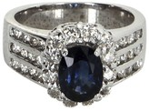 LeVian 18K White Gold 1.60 Ct Sapphire and 0.50 Ct Diamond Ring Size 5.75
