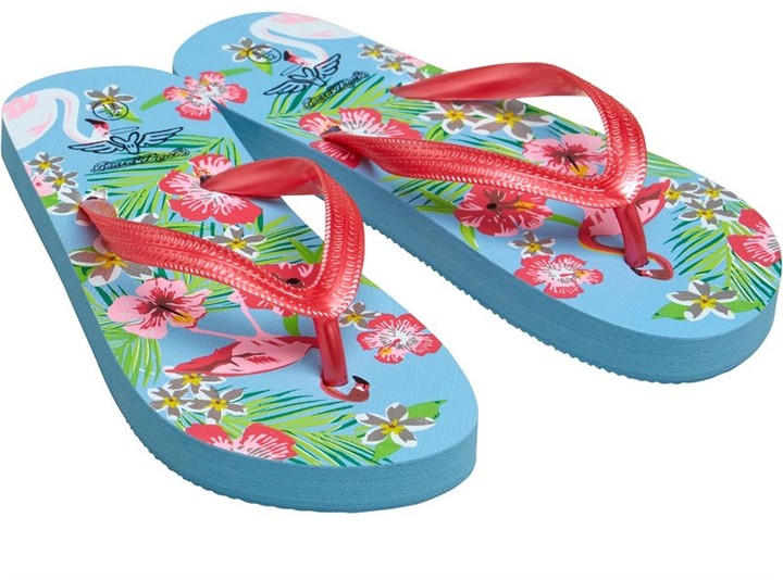 Board Angels Girls Flamingo Print Flip Flops Blue Multi
