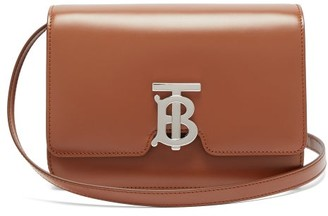 Burberry Tb Monogram Leather Cross-body Bag - Womens - Tan