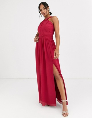 Little Mistress halter neck split maxi dress