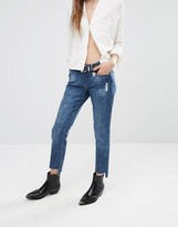 Blank NYC Cropped Skinny Jeans with Stepped Raw Hem