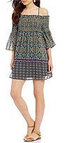 Takara Off-The-Shoulder Smocked Bodice Border-Print Shift Dress