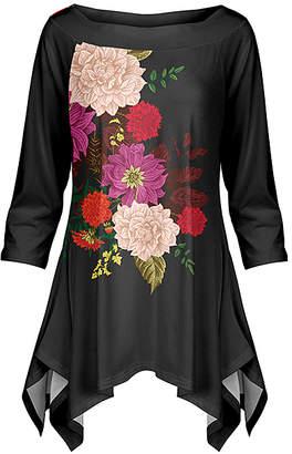 Lily Women's Tunics PNK - Pink & Purple Floral Handkerchief Tunic - Women & Plus