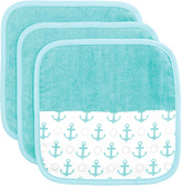 Elegant Baby Anchor Organic Washcloth - Set of Three