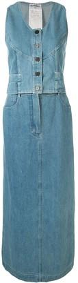 Chanel Pre Owned 1999 Denim Skirt Suit Set