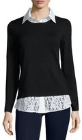 Neiman Marcus Twofer Knit and Lace Top, Black/White