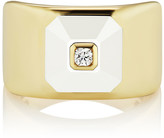 Maria Canale 18k Stacked Diamond & White Agate Ring, Size 6.5