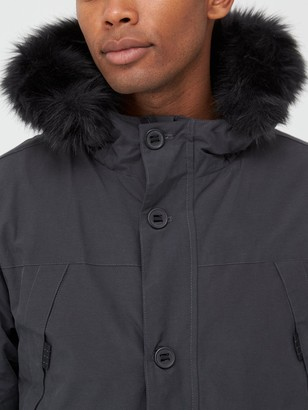Very Man Faux Fur Hood Parka - Dark Charcoal