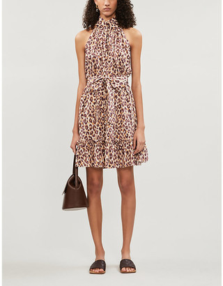 Zimmermann Super Eight leopard-print sleeveless silk-crepe mini dress