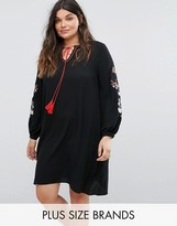 Alice & You Smock Dress With Embroidered Sleeves