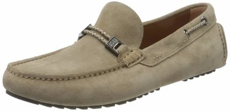 HUGO BOSS Mens Driver Mocc Driver Moccasins in Suede with Cord Details Size 10 Black