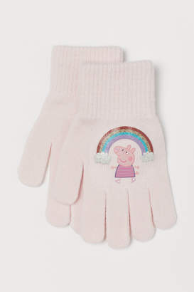 H&M Gloves with Printed Motif