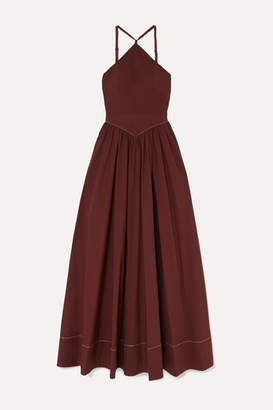 STAUD Natasha Stretch-cotton Poplin Halterneck Maxi Dress - Merlot