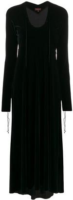 Romeo Gigli Pre Owned 1990s Velvet Effect Lace-Up Neck Long Dress
