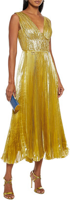 Maria Lucia Hohan Aziza Lace-up Plisse Silk-blend Lame Gown