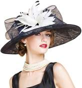 HomArt Women's Wide Brim Church Kentucky Derby Cap British Tea Party Wedding Hat