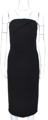Roland Mouret Black Wool Crepe Strapless Sheath Dress L