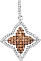Saris and Things 10kt White Gold Womens Round Cognac- Colored Diamond Star Frame Pendant 1/2 Cttw