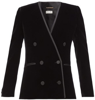 Saint Laurent Double-breasted Velvet Jacket - Black