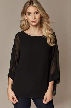Wallis Womens Black Sheer Overlay Blouse - Black