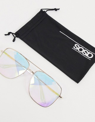 ASOS DESIGN oversized aviator fashion glasses in rainbow flash lens in gold