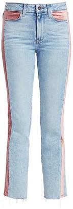 Paige Cindy High-Rise Ankle Straight-Leg Velvet-Trim Jeans