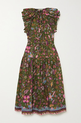 Ulla Johnson Arina Tie-detailed Ruffled Floral-print Cotton-poplin Midi Dress - Green