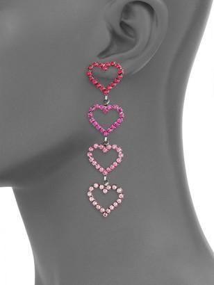 Elizabeth Cole Color of My Love Mila Swarovski Crystal & Austrian Crystal Heart Shape Drop Earrings