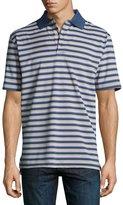 Peter Millar Convention Striped Polo Shirt, Dark Blue