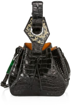 Ganni Small Croc-Embossed Leather Bucket Bag