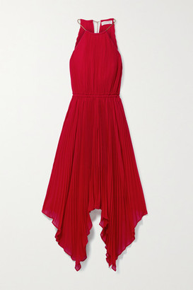 MICHAEL Michael Kors Chain-embellished Asymmetric Pleated Crepe Dress - Red