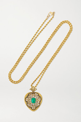 Fred Leighton Antique 18-karat Gold, Diamond, Emerald And Enamel Necklace - one size
