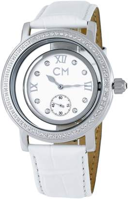 Monti Carlo Ladies Automatic Watch with White Dial Analogue Display and White Leather Strap CM104-186