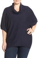 Sejour Plus Size Women's Button Cowl Neck Short Sleeve Sweater
