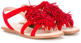 Aquazzura Mini - fringed sandals - kids - Calf Leather/Leather/Calf Suede/rubber - 28